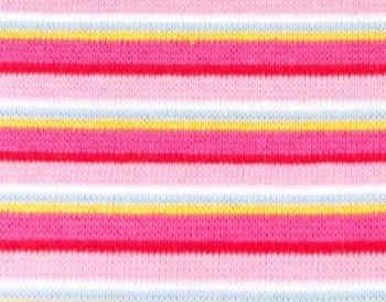 fijne boordstof gestreept: roze/rood/fuchsia/ met een smal streepje groen/wit/geel