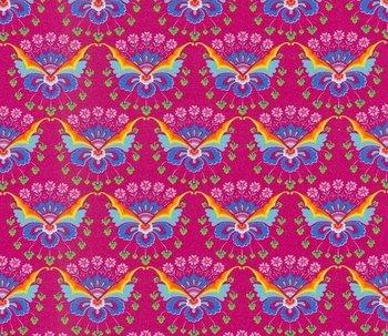 Flora: tricot fantasie-bloemen op cerise  naar een ontwerp van Jolijou
