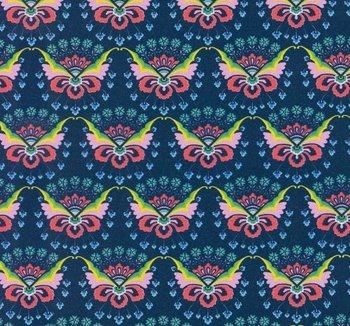 Flora: tricot fantasie-bloemen op donkerblauw  naar een ontwerp van Jolijou