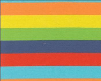 LOU/ blokstrepen: oranje/geel/lime/blauw/rood/turquoise