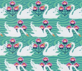 Flora: tricot witte zwanen op mooi mint  naar een ontwerp van Jolijou