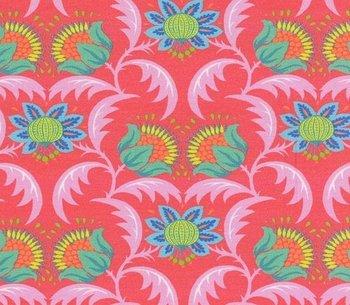 Flora: koraalrode fantasie naar een ontwerp van Jolijou