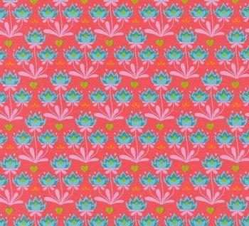 Flora: blauwe minibloemetjes op koraalrood naar een ontwerp van Jolijou
