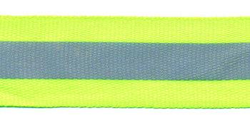 Fluoriserend geel/groen band met reflectiestreep 25 mm