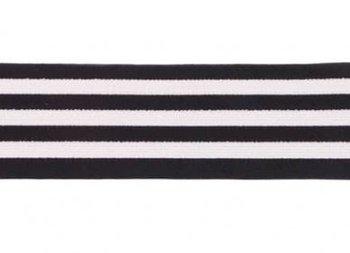 taille-elastiek 4 cm breed: strepen wit met zwart /HALVE METER