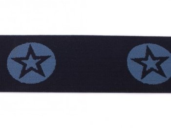 taille-elastiek 4 cm breed: ster in een rondje: jeanskleur in marine / HALVE METER