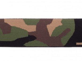 taille-elastiek 4 cm breed: geweven legerprint / HALVE METER