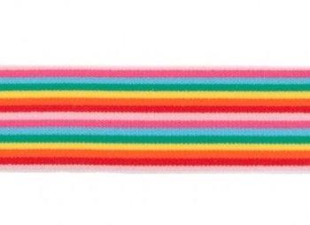 taille-elastiek 4 cm breed: smalle strepen: rood-roze-fuchsia-turquoise-enz/HALVE METER