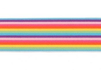 taille-elastiek 4 cm breed: smalle strepen: paars-roze-fuchsia-rood-geel-enz/HALVE METER