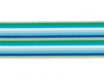 taille-elastiek 4 cm breed: smalle strepen: blauw-groentinten/HALVE METER