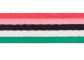 taille-elastiek 4 cm breed: bredere strepen: koraal-roze-enz/HALVE METER