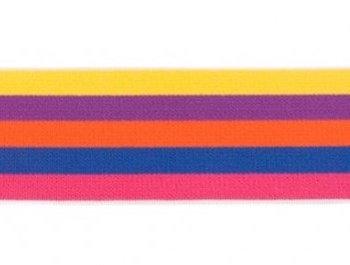 taille-elastiek 4 cm breed: bredere strepen: geel-paars-enz/HALVE METER