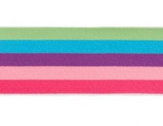 taille-elastiek 4 cm breed: bredere strepen: lime-aqua-enz/HALVE METER