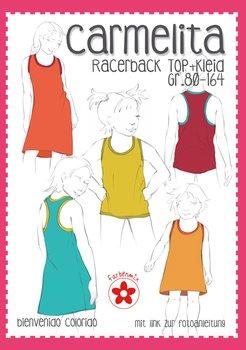 Carmelita, racerback top of jurk in de maten 80 t/m 164. nu met introductiekorting!