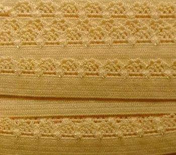 zacht soepel elastiek met kantje, zacht geel 1 cm breed
