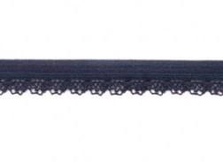 zacht soepel elastiek met kantje, donkerblauw 1 cm breed