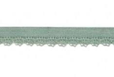 zacht soepel elastiek met kantje, oud groen 1 cm breed