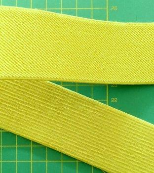 schuin geweven taille-elastiek 4 cm breed: geel /HALVE METER