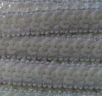 elastisch paillettenband, gebroken wit