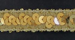 elastisch paillettenband, goudkleurig