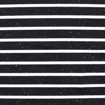 Tricot Bretonse strepen 2,5 cm / 0,5 cm multicolor zwart met wit : leuk!!
