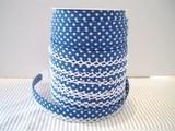 biaisband blauw met witte stip en wit randje