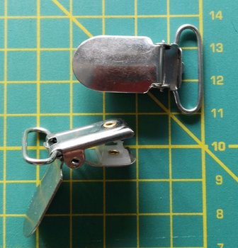 bretelclip, mat-glanzend: zilverkleurig voor band 25 mm