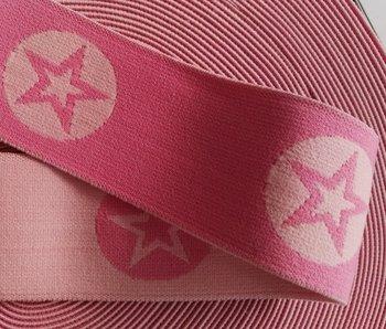 taille-elastiek 4 cm breed: ster in een rondje: lichtroze en roze / HALVE METER