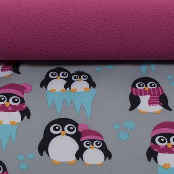 softshell pinguins grijs met roze, winddicht