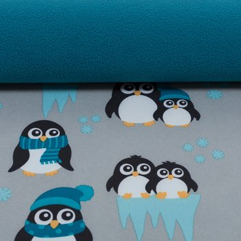 Sheldon: softshell pinguins grijs met petrol en turquoise, winddicht en waterafstotend