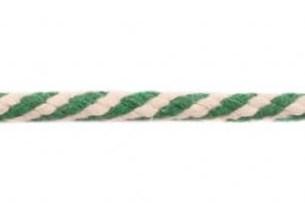 Koord 8 mm gevlochten katoenen koord, groen/gebroken wit