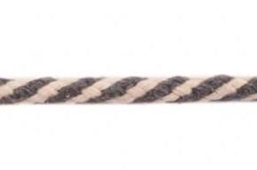 Koord 8 mm gevlochten katoenen koord, grijs/gebroken wit