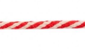 Koord 8 mm gevlochten katoenen koord, rood /gebroken wit