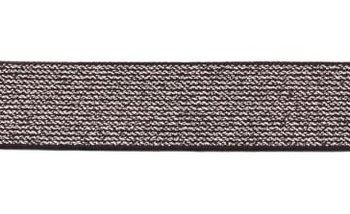 glitter-taille-elastiek zwart/zilver 2,5 cm breed:  / HALVE METER