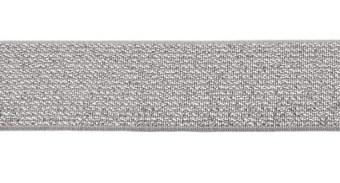 glitter-taille-elastiek grijs/zilver 2,5 cm breed:  / HALVE METER