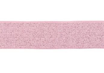 glitter-taille-elastiek zilver-roze 2,5 cm breed:  / HALVE METER
