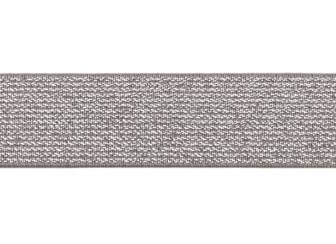 glitter-taille-elastiek taupe 2,5 cm breed:  / HALVE METER