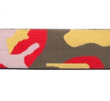 taille-elastiek 4 cm breed: legerprint rood /HALVE METER