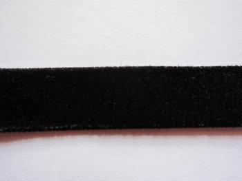 elastisch fluweelband zwart 1,4 cm breed