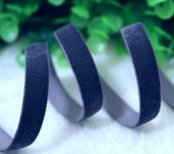 elastisch fluweelband jeansblauw 1,6 cm breed