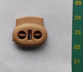 koordstopper met twee gaten voor koord tot maximaal 5 mm, houtkleurig plastic