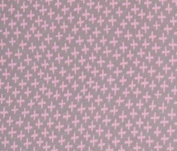 Karla: grijze boordstof met roze plusjes
