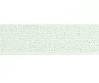 glitter-taille-elastiek gebroken wit/zilver 2,5 cm breed:  / HALVE METER