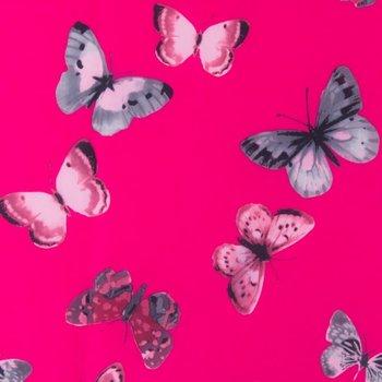jassenstof vlinders op mooi fuchsia