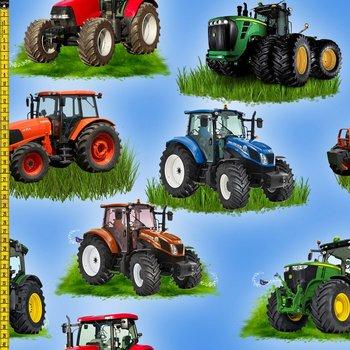 Tim: digitaal bedrukte tricot: tractor / trekker onder andere John Deere
