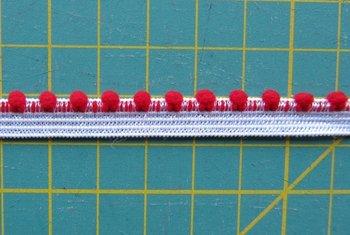 elastisch pomponband, rood