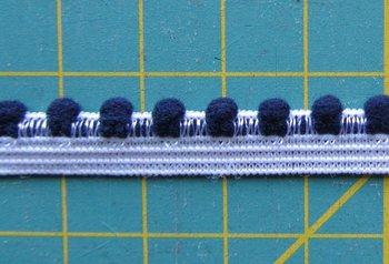 elastisch pomponband, donkerblauw