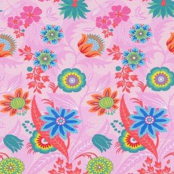 Flora: tricot fantastiebloemen op roze naar een ontwerp van Jolijou