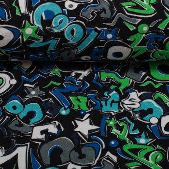 Graffiti:  french terry in blauw, groen, grijs en zwart