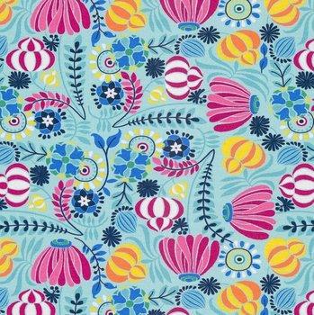 Flora: tricot fantasiefiguurtjes op licht-turquoise naar een ontwerp van Jolijou